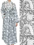 kimono katoen -antraciet op wit blockprint