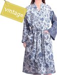 kimono recycled silk - classic blue tone flower branch