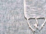 detail deken wolmix/katoen gemêleerd denim/wit