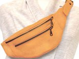 tas heuptas moneybelt zacht leer -warm yellow