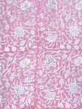 stofdetail kimono katoen -roze op wit blockprint