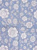 stofdetail kimono katoen -grijsblauw op wit blockprint