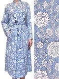kimono katoen -grijsblauw op wit blockprint