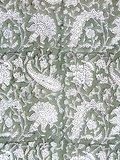 stofdetail kimono katoen -olijfgroen op wit blockprint