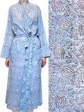 kimono katoen -lichtblauw op wit blockprint
