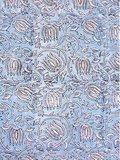 stofdetail kimono katoen -lichtblauw op wit blockprint