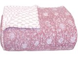 deken quilt tweepersoons reversible blockprint -roze medium/zand