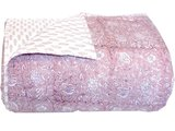 deken quilt tweepersoons reversible blockprint -roze licht/zand