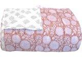 deken quilt tweepersoons reversible blockprint -roze abrikoos/grijs
