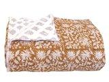 deken quilt eenpersoons reversible blockprint -hazelnoot/grijs