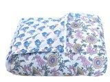 deken quilt peuter/kind - blockprint op wit: bloem/vogel