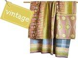deken / quilt vintage katoen - retrodessin flowers 70's oranje/paars/groen
