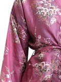 kimono recycled silk - retro flower bouquet on reddish check font