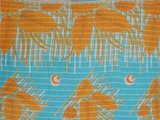 stofdetail sierkussen hoes XL 60x60 vintage 3 - warm yellow retro leaves on aqua fond