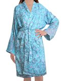 kimono recycled silk 5 - classic branches with pastel flowers in rose / lilac / lavender on aqua blue_