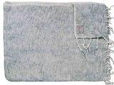 deken-plaid wolmix/katoen gemêleerd bleached jeans/wit