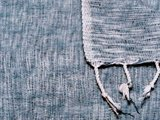 deken-plaid wolmix/katoen gemêleerd denim/wit