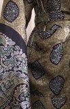 kimono recycled silk 2- olijfgroen/zwart bladprint_