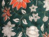 deken quilt eenpersoons reversible blockprint -groen-wit-oranje/lichtgroen_