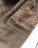 UITVERKOCHT-sjaal merino wol-blockprint donkerbruin op taupe-bruin_