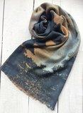 sjaal merino wol-abstract art print bruin-zwart-blauw_