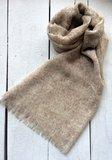 sjaal merino wol fijn-ton sur ton print warm beige/wit_