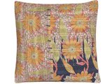 sierkussen hoes XL 60x60 vintage 4 - daisy flowers warm yellow coral, soft green and black