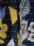 VERKOCHT-sierkussen  XL 60x60 vintage 1-oker-blauw-zwart patchwork_