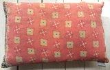 sierkussen 60x40 vintage 1 - patchwork oud roze-zwart-geel_