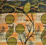 VERKOCHT-kussen pick-up 2 -vintage katoen met hengsels oranje-army met oranje rozen/bruin_