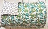 UITVERKOCHT-deken quilt tweepersoons reversible blockprint -groen-aqua/blauw/grijs_
