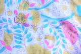 UITVERKOCHT--deken quilt tweepersoons reversible blockprint -mosterd-roze/blauw_