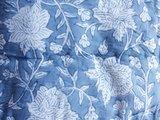 UITVERKOCHT-deken quilt tweepersoons reversible blockprint -lichtblauw/lavendel-zwart_