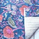 kimono quilted katoen -jeans blauw/koraal_