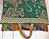 VERKOCHT-kussen pick-up 3 -vintage katoen met hengsels groen-wit met groen-army_