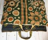 VERKOCHT-kussen pick-up 4-vintage katoen met hengsels oranje-army met groen-bruin_