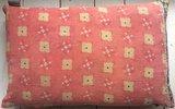VERKOCHT- sierkussen 60x40 vintage 1 - patchwork oud roze-zwart-geel_