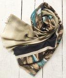 sjaal  fantasie bladmotief bruin/petrol/zwart_
