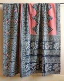 GERESERVEERD-deken / quilt vintage katoen 3 - zwart-hazelnoot/ zwart/roze bloem_