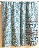 VERKOCHT- deken / quilt vintage katoen 4 -aqua-d.blauw/ pastel oranje-petrol bloem_