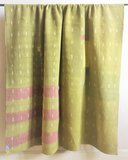 VERKOCHT-deken / quilt vintage katoen 5 - ikat paars-geel groen_