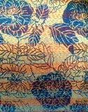 sierkussen  vintage zijde/linnen 1 -zwarte bloem op goud/oker_