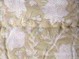 deken quilt eenpersoons reversible blockprint -licht beige-geel/grijs_