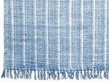 detail vloerkleed blockprint stripe denim