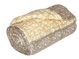 deken quilt eenpersoons blockprint -bruin/oker