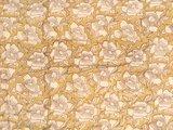 stofdetail deken quilt eenpersoons blockprint -bruin/oker