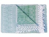 sprei eenpersoons grafisch jaquard white/green