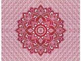 sprei/stranddoek mandala- roze/framboos