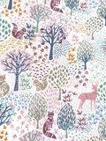 stofdetail kimono viscose- forest print pastels on white