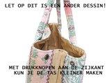 tas shopper XL is met drukknopen tot handtas om te vormen